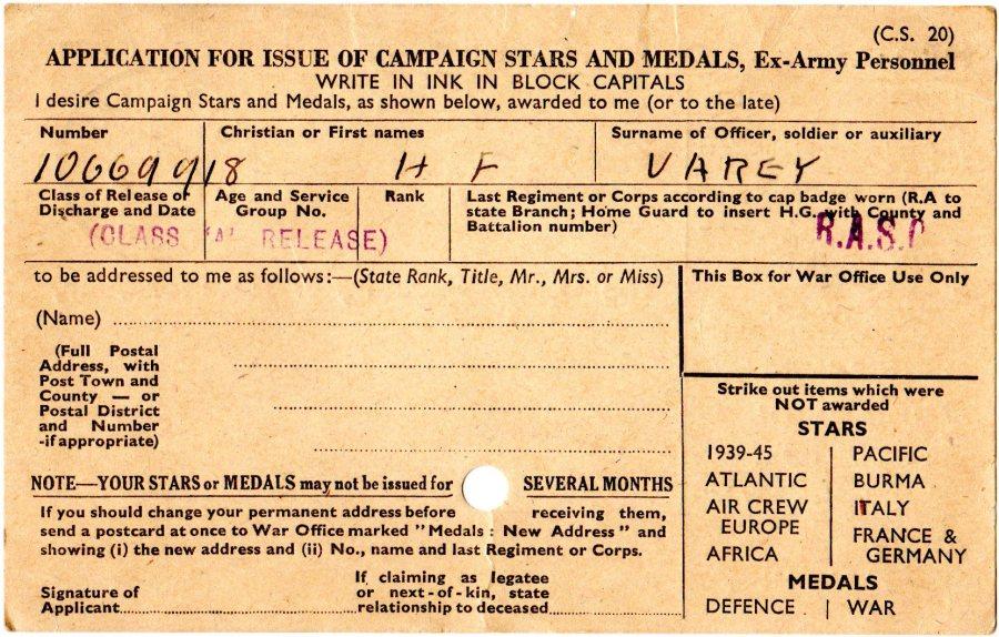 WW2 Medal Card Back