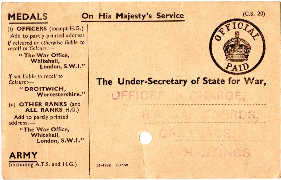 WW2 Medal Card Front