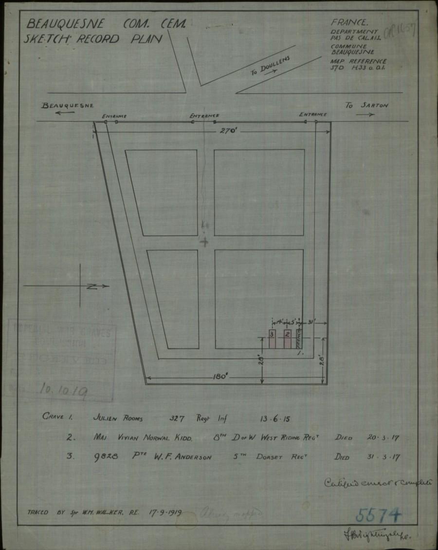 Sketch Record Plan Beauquesne Com Cem 1919
